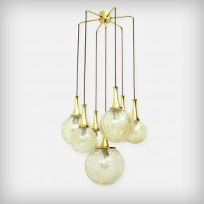 Huge Golden 7 Armed Handblown Glass Chandelier