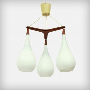 3 Armed Opal Glass & Teak Pendant Lamp