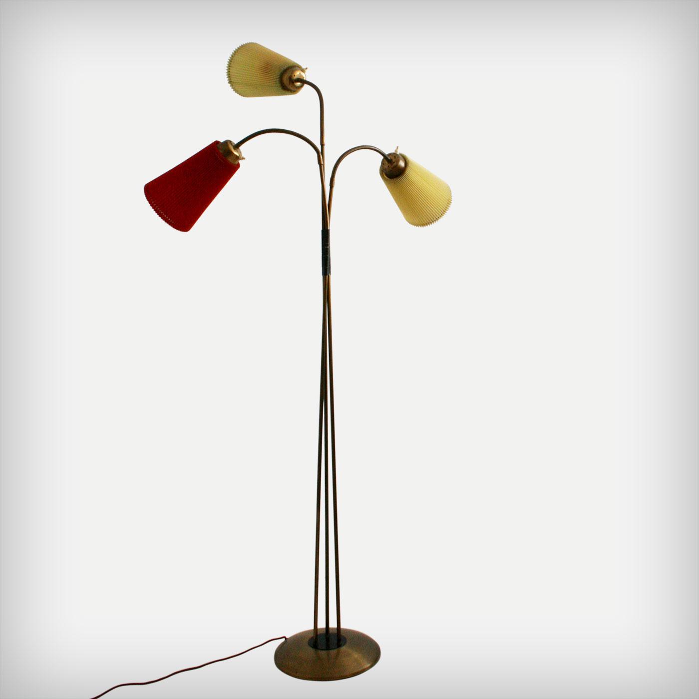 Three Arm Brass Floor Lamp Good Old Vintage