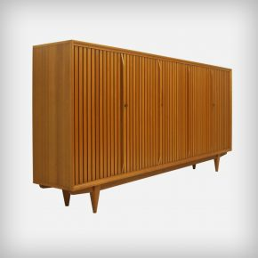 Large Walnut Highboard With Slatted Doors