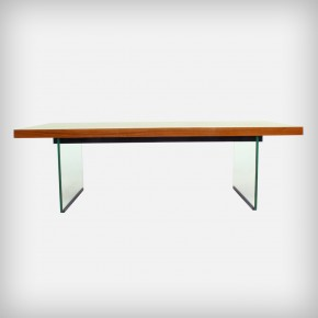Very Rare Glass & Walnut Coffee Table