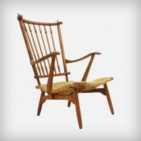 Cherrywood Armchair With Rush Seating