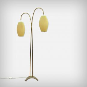 Brass Floor Lamp With Celluloid Shades