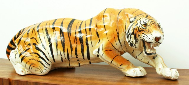 Huge Ceramic Hand Painted Tiger