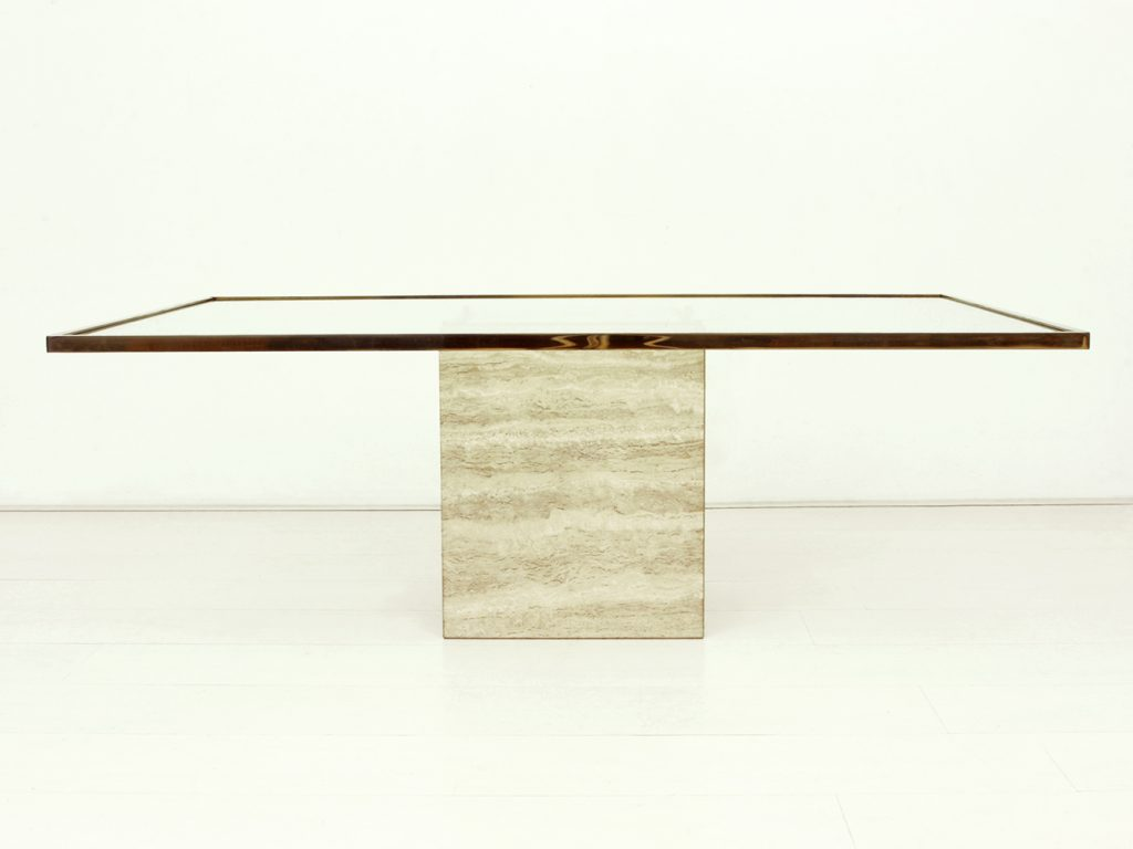 - Travertine, Brass & Glass Coffee Table Good Old Vintage