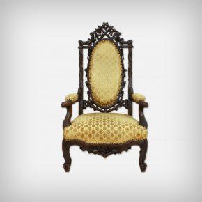 Black Forest Walnut & Velvet Armchair Chair