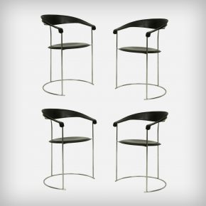 Set Of 4 Chrome & Black Leather Armchairs • Model Canasta