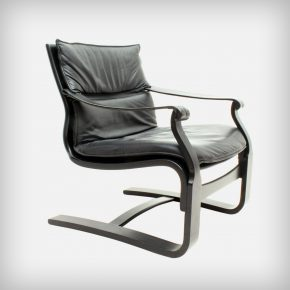 Black Plywood & Leather Lounge Chair