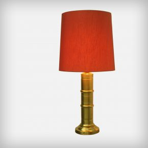 Huge Red Fabric & Brass Table Or Floor Lamp