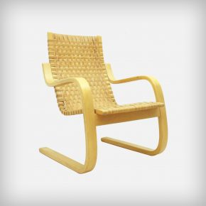 Birch & Cane Webbing Cantilever Armchair • Model 406