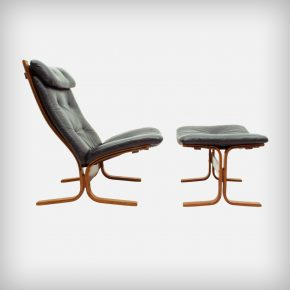 Plywood & Leather Lounge Chair & Ottoman • Model Siesta