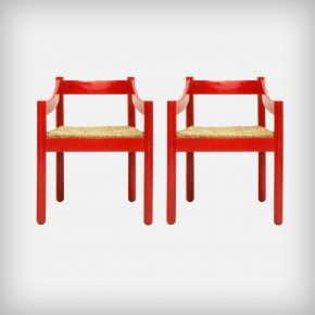 Pair Of Red Beech Wood & Woven Rush Seating Dining Chairs • Model Carimate