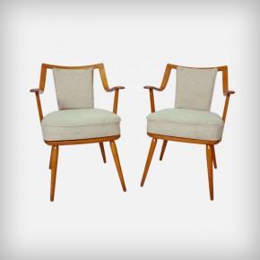 Set Of 2 Beechwood Easy Chairs