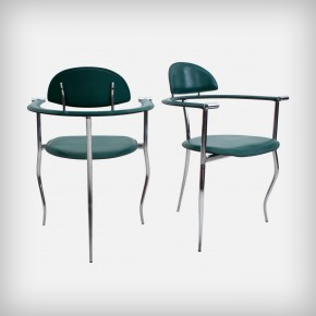 Pair Of Emerald Leather Armchairs • Model Marilyn