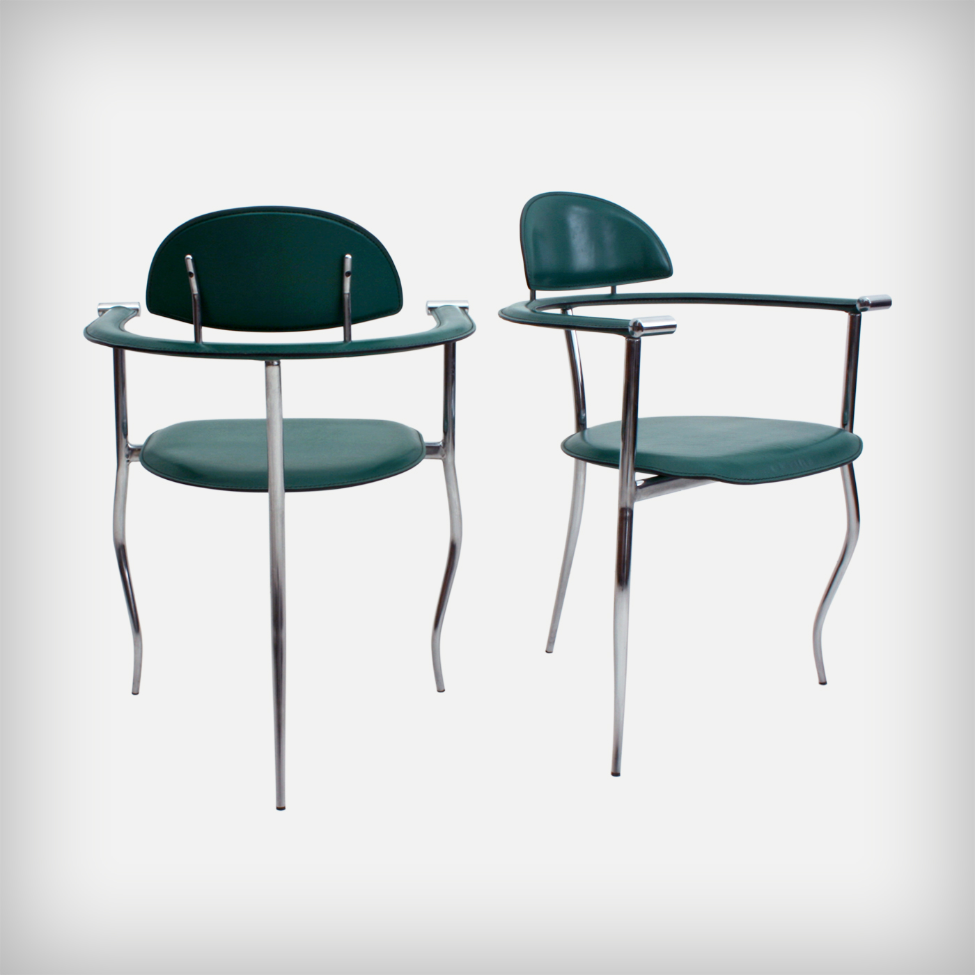 Pair Of Emerald Leather Armchairs Model Marilyn Good
