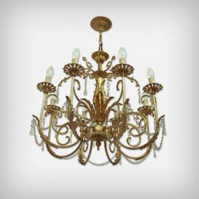 8 Armed Brass & Glass Chandelier