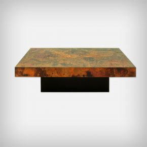 Large Etched & Fire Oxidized Copper Coffee Table