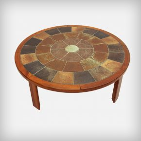 Round Teak & Ceramic Tiles Coffee Table