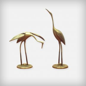 Set Of 2 Brass Cranes
