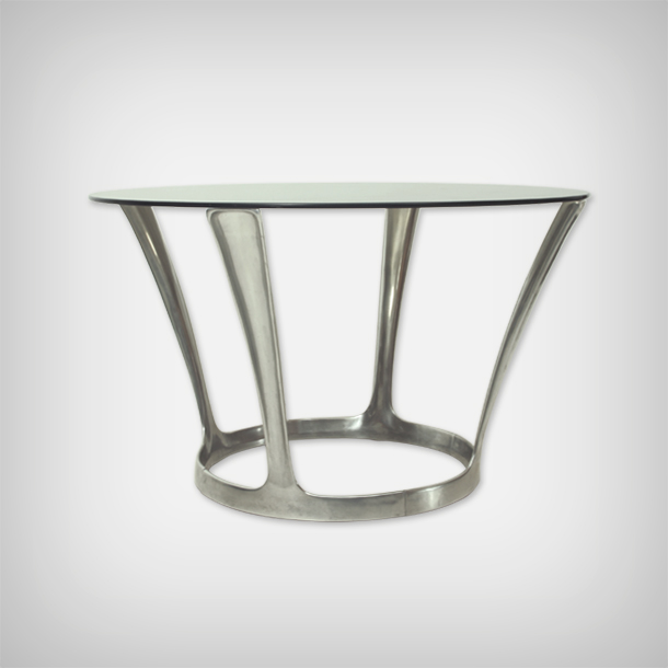 Aluminum Smoked Glass Dining Table Good Old Vintage