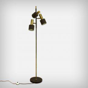 3 Armed Brass & BrownLacquered Metal Floor Lamp