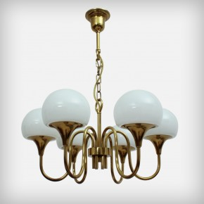 Golden 6 Armed Glass Chandelier