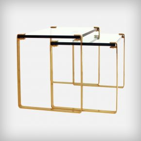 Set of 2 Gold and Glass Nesting Tables • Klassik 1022