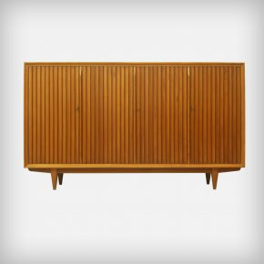 Walnut Highboard With Slatted Doors