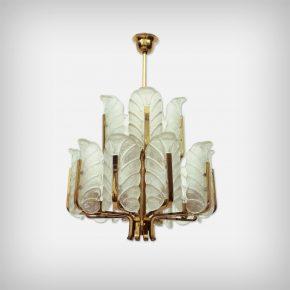15 Armed Brass & Glass Leaf Chandelier