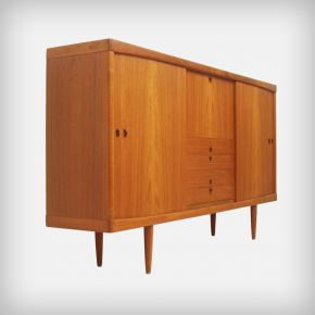 Teak Highboard With Sliding Doors