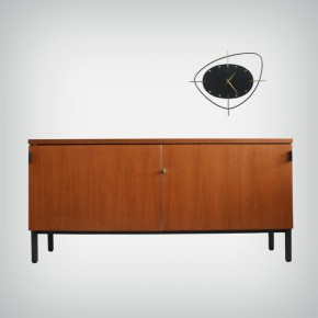 Walnut Sideboard & Room Divider with Leather Pulls