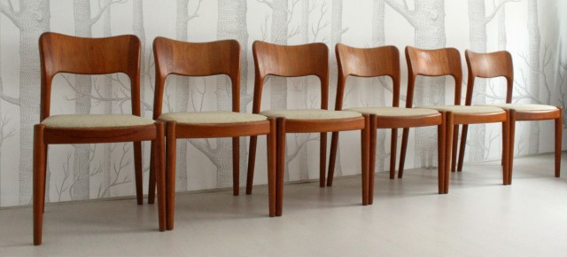 Set Of 6 Teak Dining Chairs • Model Ole