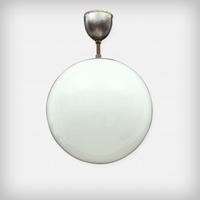 Round Opal Glass & Metal Lamp