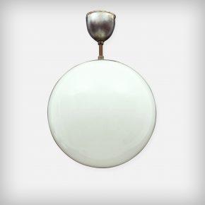 Round Opal Glass & Metal Lamp