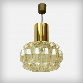 1 Of 2 Brass & Glass Pendant Lamps