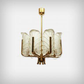 8 Armed Brass & Glass Leaf Chandelier