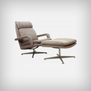 Chrome & Fabric Lounge Chair With Ottoman