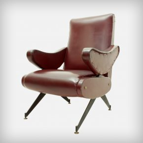 Red-Brown Skai & Metal Reclining Lounge Chair