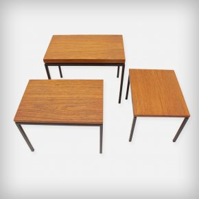 Set Of 3 Teak & Metal Nesting Tables