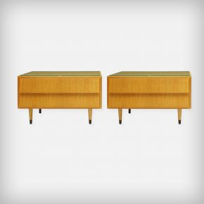 Pair Of Ash Wood Nightstands With Glass Tops