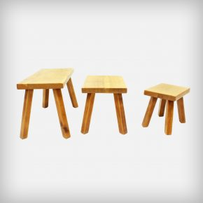Set Of 3 Solid Oak Wood Nesting Tables