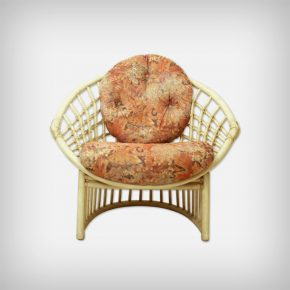 Multicolored Fabric & Rattan Lounge Chair