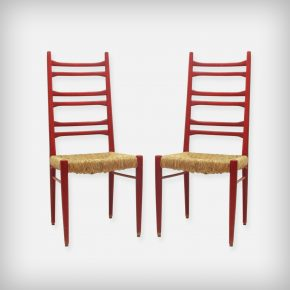 Pair Of Red Wood & Woven Rush Seating Dining Chairs