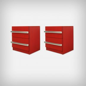 Set Of 2 Red Chest Of Drawers