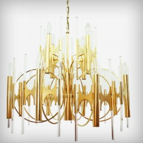 Huge Brass & Glass Chandelier