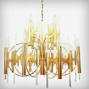 Huge Brass & Glass Chandelier