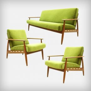 Teak & Velvet Fabric Seating Group