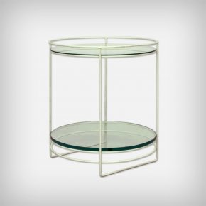 White Steel Rod & Glass Side Table