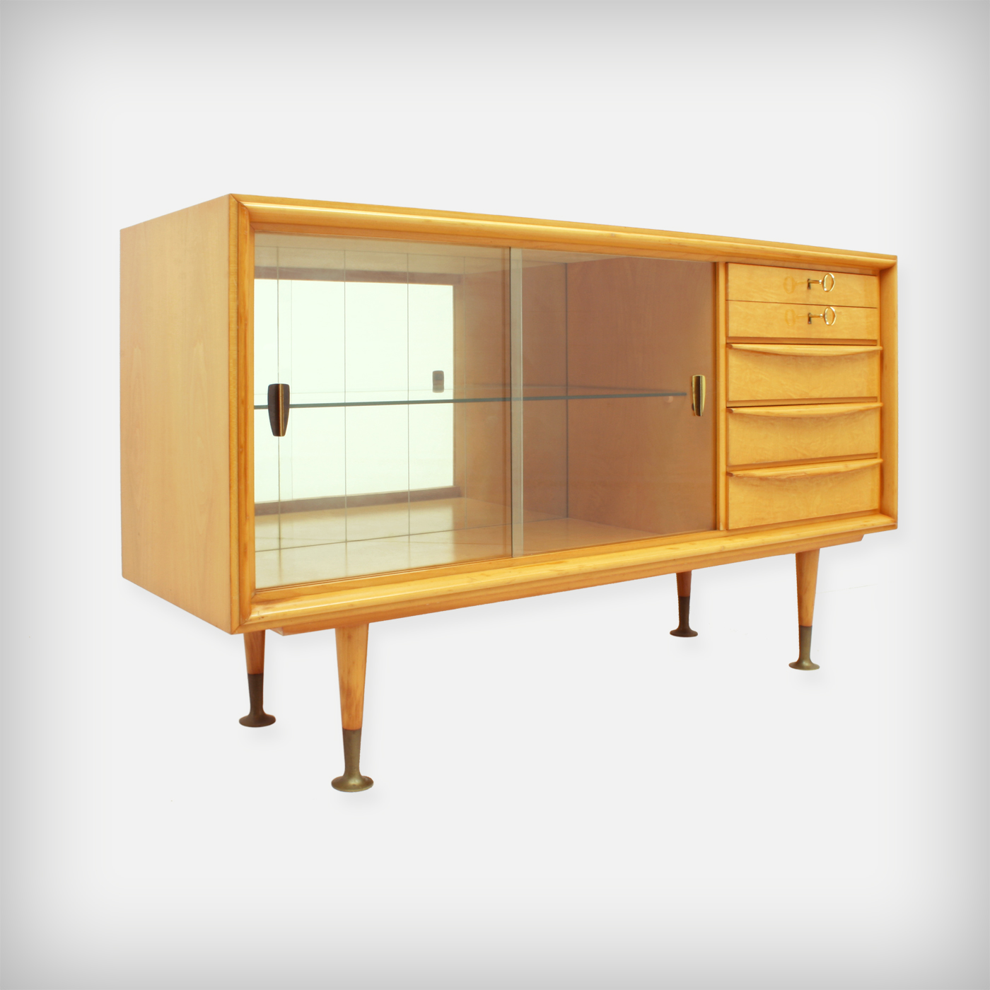 Small Cherry Wood Sideboard With Glass Doors Good Old
