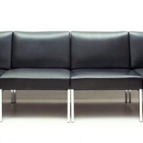 Black Leather & Chrome Modular Sofa